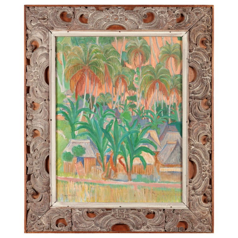 Colonial Painting by friend of Gaugain Theo Meier '1908-1982' of Iseh, Bali For Sale