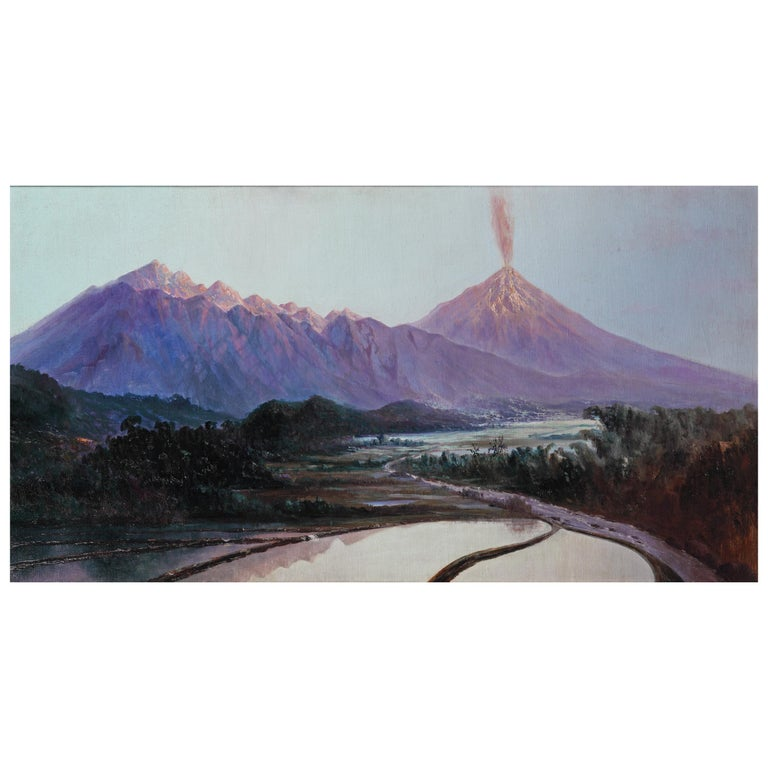 Colonial Painting by Willem Imandt of the Merapi & Meraboe Vulcano For Sale