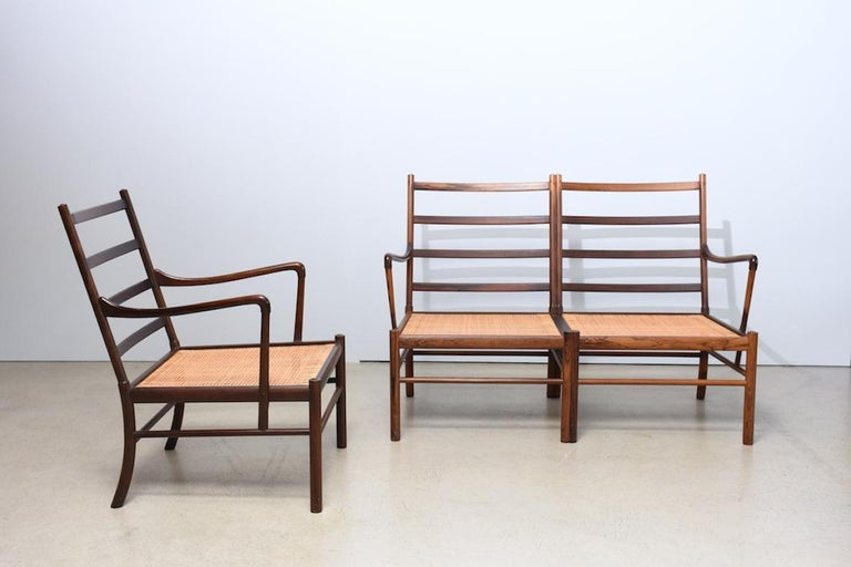 Scandinavian Modern `Colonial` PJ149 sofa and armchair by Ole Wanscher, 1960s, rosewood and leather For Sale