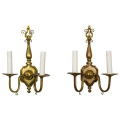 Colonial Revival 2-Light Brass Sconces 'Pair'