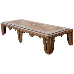 Colonial Rosewood Coffee Table with Marquetry Inlay, Anglo Indian, circa 1870