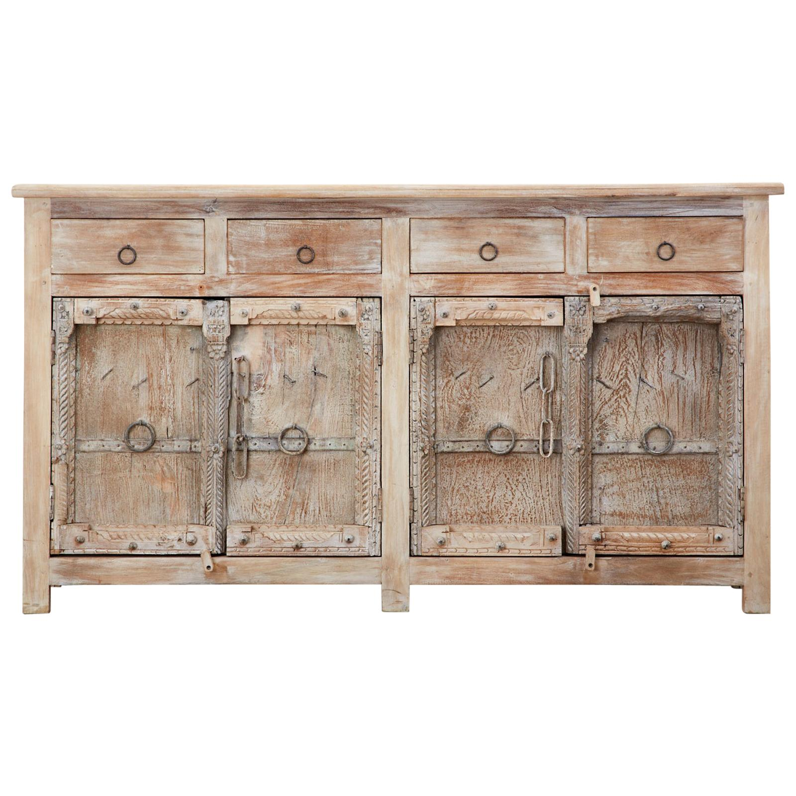 Colonial Style Indian Bleached Teak Sideboard Server Cabinet