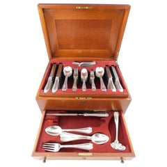 Colonial Tiffany Sterling Silver Flatware Set Service 96 Pcs Fitted Chest S Mono