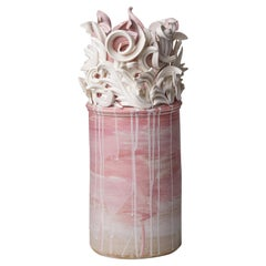 Colonnade I, a Unique Ceramic Sculptural Vase in Pink & White by Jo Taylor