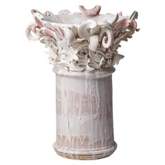 Colonnade III, a Unique Ceramic Sculptural Vase in Pink & White by Jo Taylor