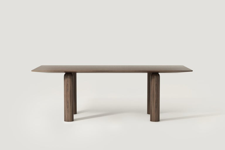 Belgian Colonne Dining Table in Solid Walnut Wood by POOL For Sale