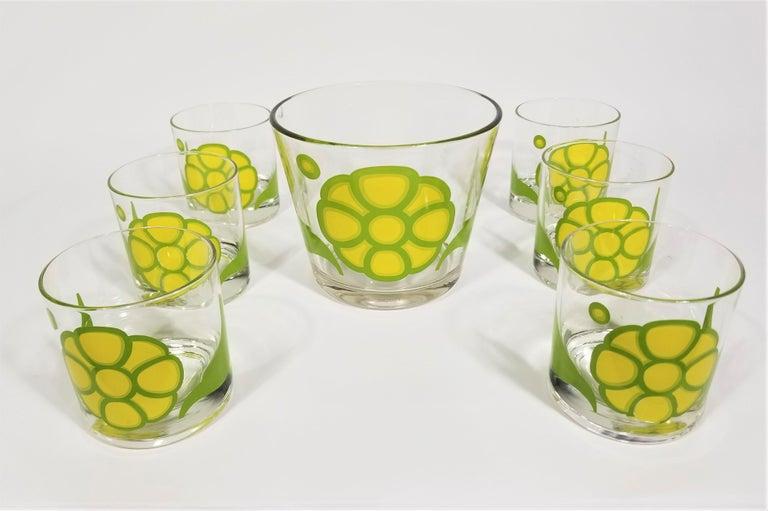 Colony Glassware Barware Mid Century Set of 6 with Ice Bucket For Sale 8