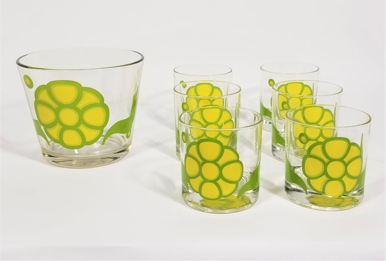 Mid-Century Modern Colony Glassware Barware Mid Century Set of 6 with Ice Bucket For Sale