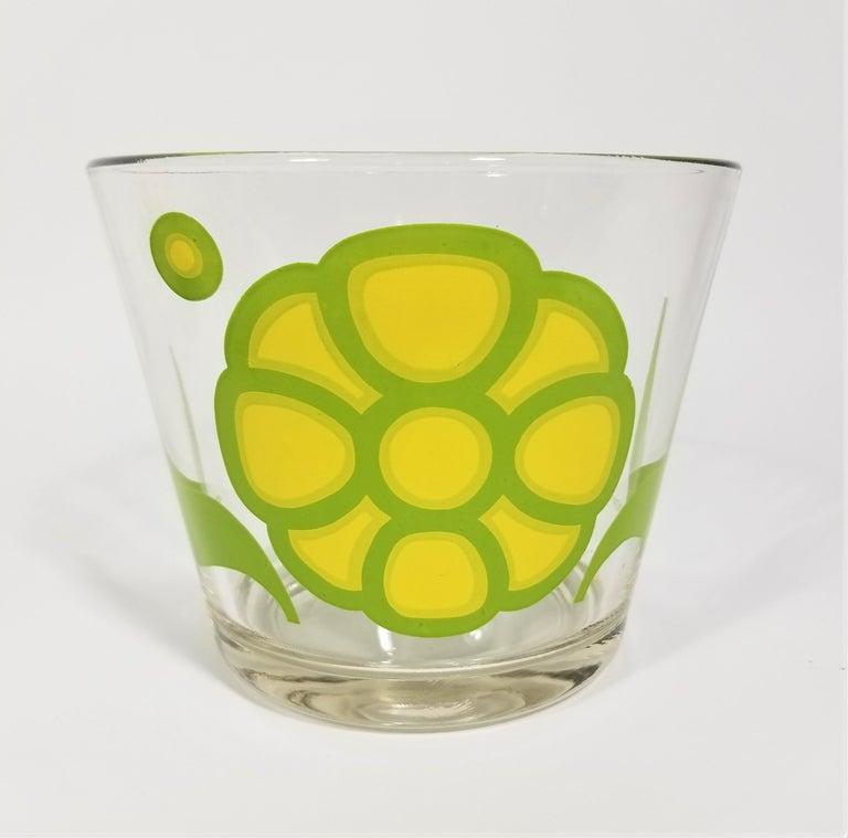 20th Century Colony Glassware Barware Mid Century Set of 6 with Ice Bucket For Sale