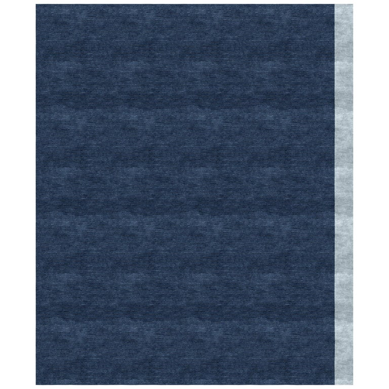 Color Block Navy Hand Knotted 100% Bamboo Silk Rug For Sale