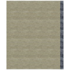 Color Block Beige Hand Knotted 100% Bamboo Silk Rug