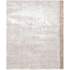 Color Block Beige - Plain Designer Hand Knotted Bamboo Silk Rug