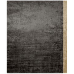 Color Block Black - Plain Contemporary Hand Knotted Bamboo Silk Rug