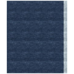 Color Block Navy Hand Knotted 100% Bamboo Silk Rug