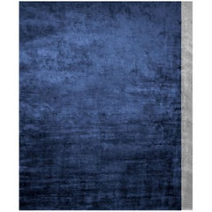 Color Block Deep Blue - Plain Traditional Hand Knotted Bamboo Silk Rug