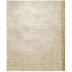 Color Block Gold - Plain Contemporary Hand Knotted Bamboo Silk Rug