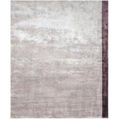 Color Block Lavanda - Plain Bedroom Hand Knotted Bamboo Silk Rug