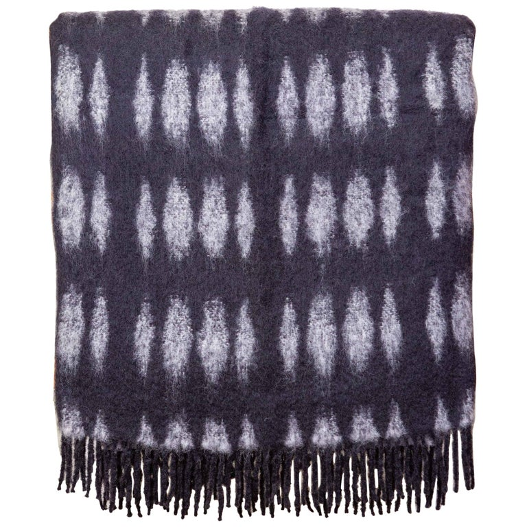 Color Block Mohair Blanket in Black and Grey For Sale