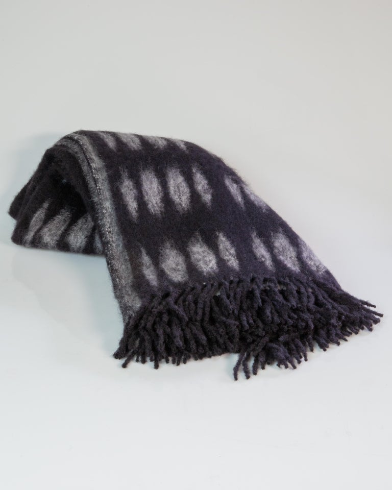 Spanish Color Block Mohair Blanket in Black and Grey For Sale