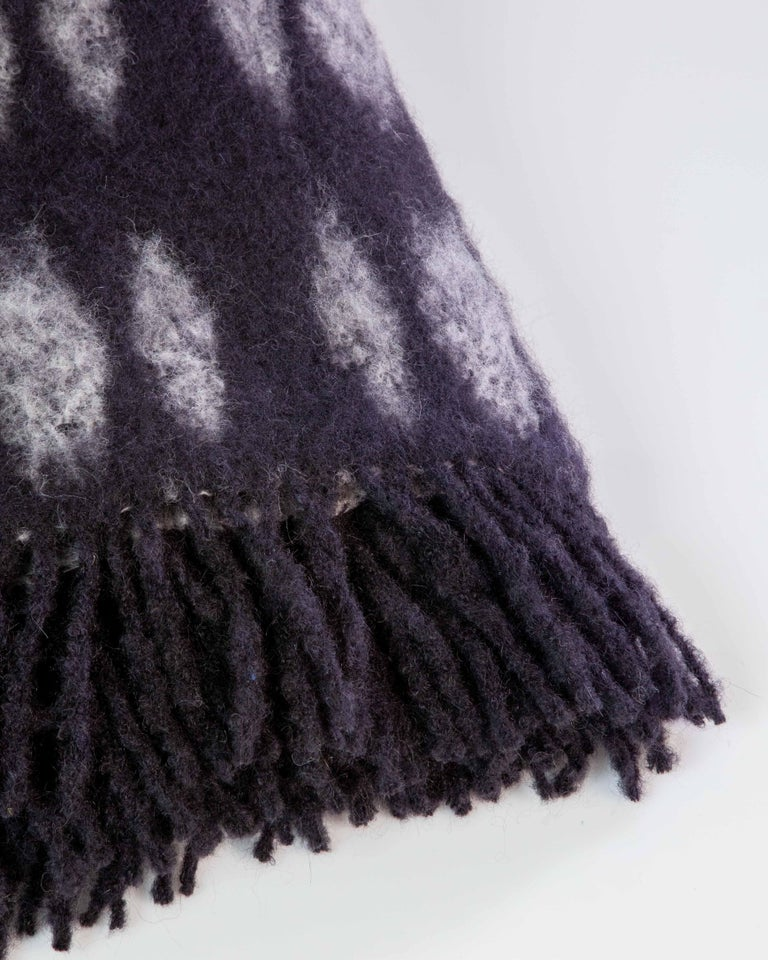 Hand-Woven Color Block Mohair Blanket in Black and Grey For Sale