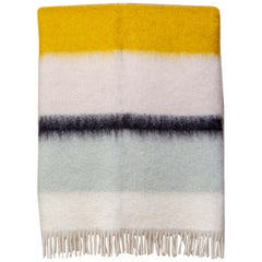 Color Block Mohair Blanket in Yellow, Ivory, Light Grey, Pale Pink, in Stock