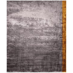 Color Block Purple - Plain Soft Hand Knotted Bamboo Silk Rug