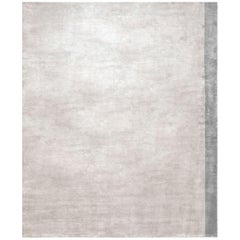 Color Block Silver - Living Room Hand Knotted Bamboo Silk Rug