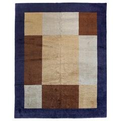 Color Block Tibetan Design Area Rug
