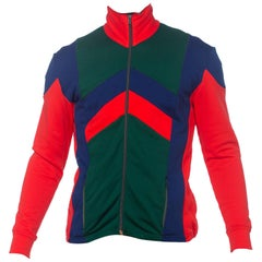 1980'S Red & Blue Polyester Men's Colorblocked Track Suit Jacket