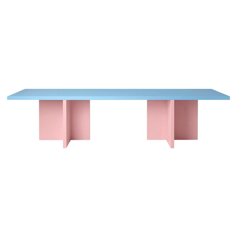 Color-Blocked Lacquered Ash Veneer Elio Dining or Conference Table For Sale