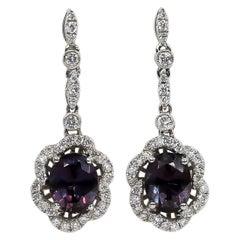 Color Change Garnets Earrings 3.03 Carat with Diamonds 0.53 Carat 18 Karat Gold