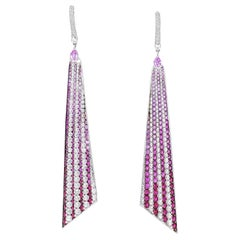 Color Changing Diamond, Ruby and Pink Sapphire Ombre' Dangle Earrings