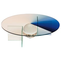 Color Dial Blue Table in Glass and Color Sublimated Glass