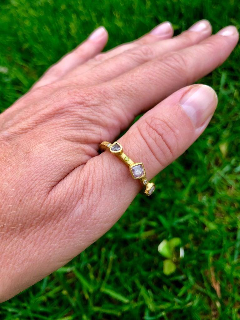 Women's or Men's Color Diamond Tree-Stone Bezel Set in 22k Gold Engagement Bridal Ring Handmade   For Sale