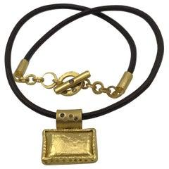 Color Diamonds 22-21 Karat Gold Handmade Pendant on Leather Choker Necklace
