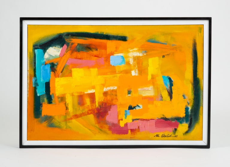 "A large abstract painting attributed to Arizona-based artist Mildred ""Millie"" Ehrlich. Known primarily for her collage and mixed media work in the late 20th century, Ehrlich studied painting at the Art Institute of Chicago and moved through"