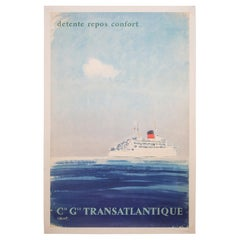 Color Lithograph French Poster Cie G. Le Transatlantique, circa 1950