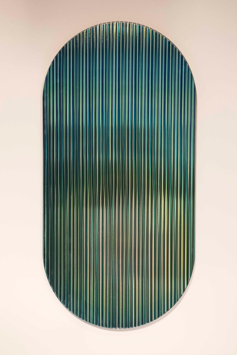 Contemporary Color Shift Panel Trichroic Green with Glass and Color Sublimated Mirror For Sale
