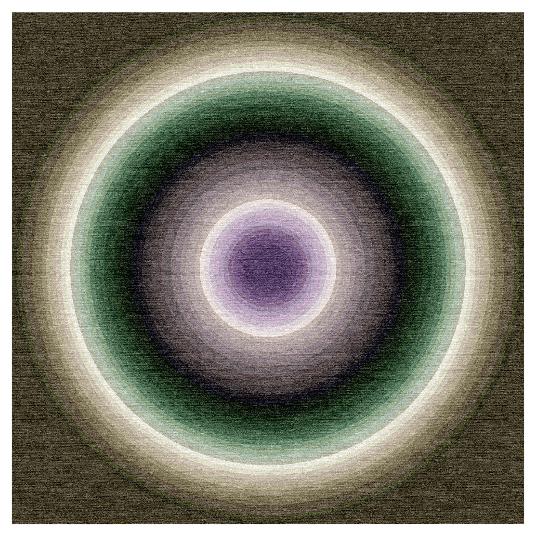 Color Wheel Tapestry or Carpet Green Base Purple Black Tibetan Wool Customizable
