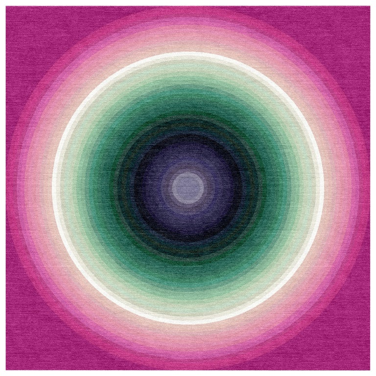 Color Wheel Tapestry or Carpet Pink Base Green Purple Tibetan Wool Customizable For Sale
