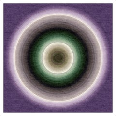 Color Wheel Tapestry or Carpet Purple Base Green Black Tibetan Wool Customizable