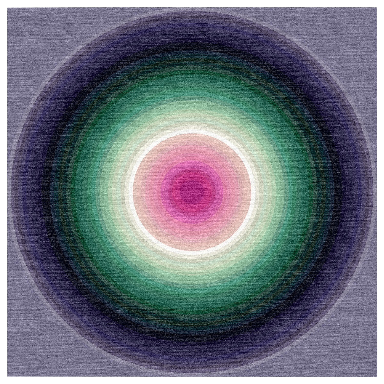 Color Wheel Tapestry or Carpet Purple Base Green Pink Tibetan Wool Customizable