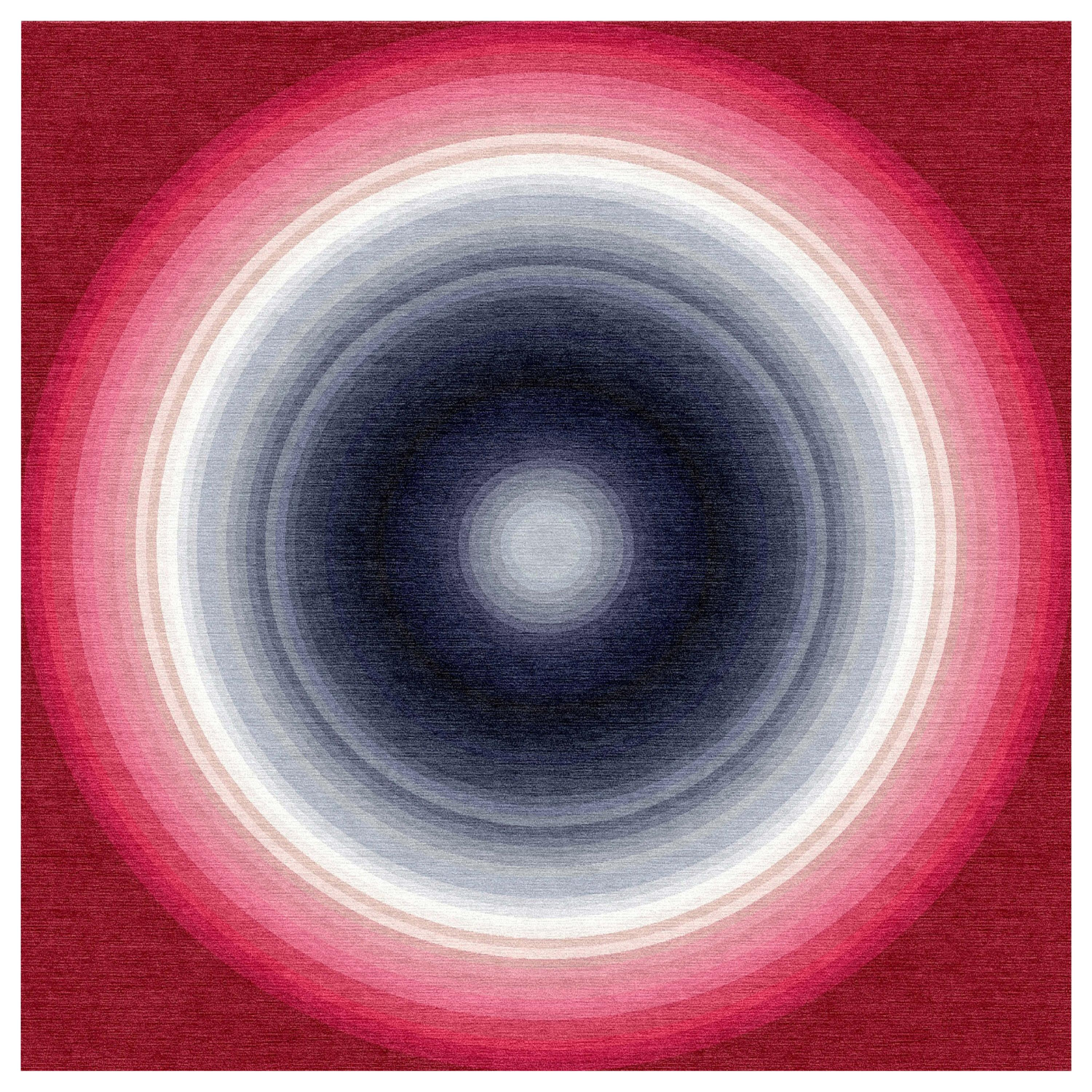 Color Wheel Tapestry or Carpet Red White Blue Grey Tibetan Wool Customizable