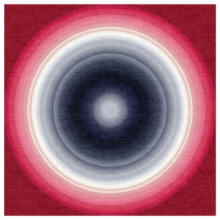Color Wheel Tapestry or Carpet Red White Blue Grey Tibetan Wool Customizable For Sale