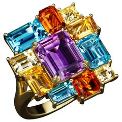 JAG New York 18 Karat Amethyst, Blue Topaz, Citrine and Yellow Sapphire Ring