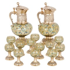 Colored and Enameled Glass Vodka Drinking Set with Silver Mounts