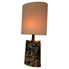 Colored Ceramic Table Lamp with a Face in Relief, This is a French Work, Circa 1