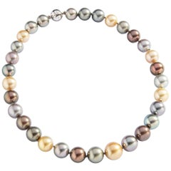Colored Cultured Pearl White Gold and Diamond clasp Necklace