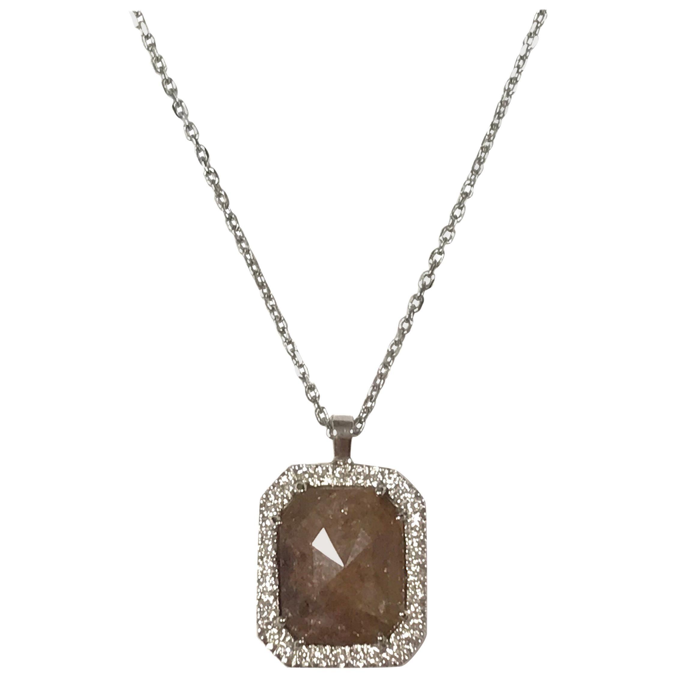 Colored Diamond and White Diamonds on White Gold 18 Karat Pendant Necklace