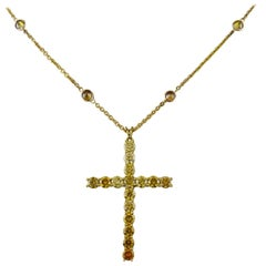 Colored Diamonds 18 Karat Yellow Gold Necklace with Cross Pendant